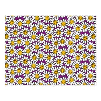 Purple Smiley Daisy Flower Pattern Postcard