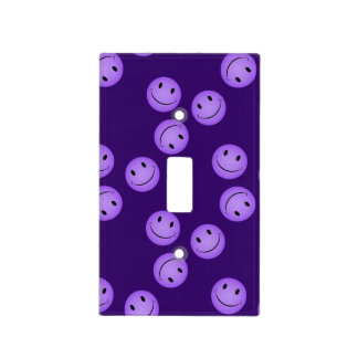 Purple Smiley Face Pattern Switch Plate Cover