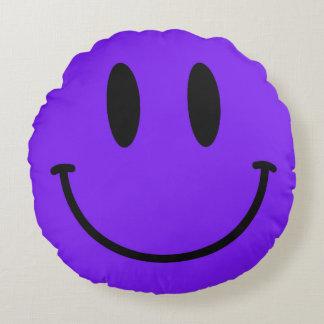 Purple Smiley Face Round Throw Pillow