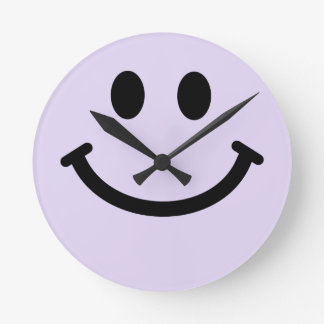 Purple Smiley Face Wall Clock