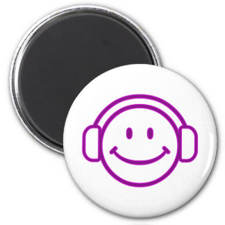 Purple Smiley Headphones Magnet