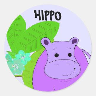 Purple Smiling Hippo Classic Round Sticker
