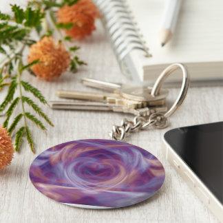 Purple Smoke Basic Round Button Keychain