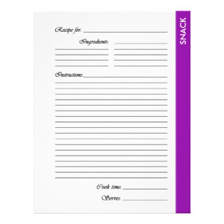 Purple SNACK 2-sided Recipe Pages