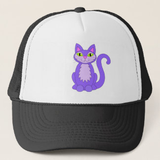 Purple Snaggletooth Kitty Cat Green Eyes Cartoon Trucker Hat
