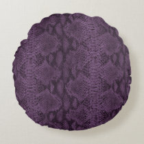 Purple Snake Skin Leather Round Pillow