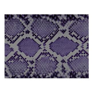 Purple snake skin pattern postcard
