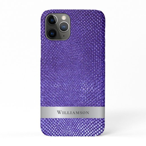 Purple Snakeskin Digital Leather Silver Metal iPhone 11 Pro Case