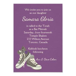 Purple Sneakers Bat Mitzvah Invitation