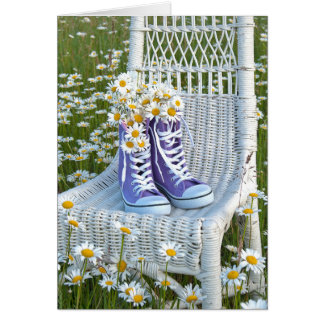 purple sneakers with daisy bouquet card
