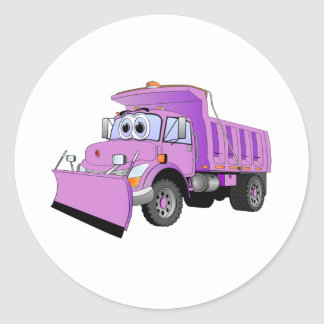 Purple Snow Plow Cartoon Classic Round Sticker