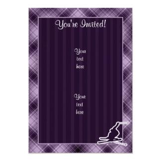 Purple Snow Skiing Card