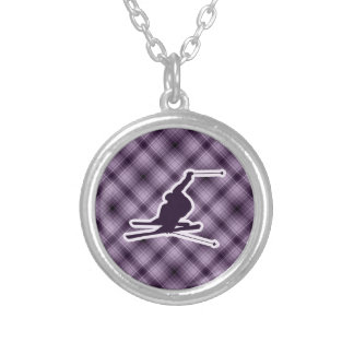 Purple Snow Skiing Silver Plated Necklace
