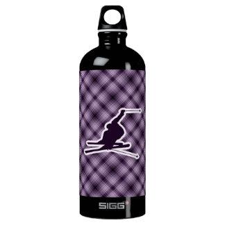 Purple Snow Skiing Water Bottle