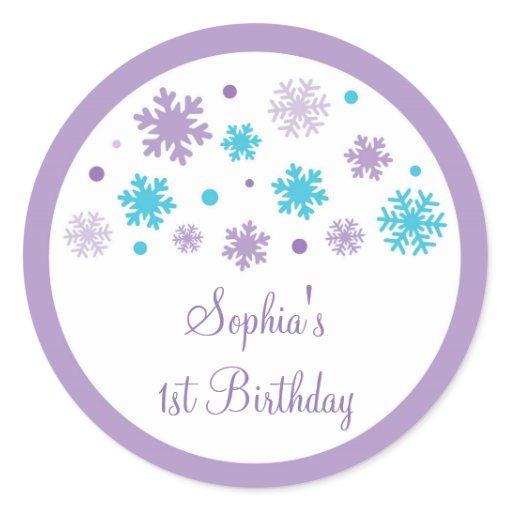 Purple Snowflake 1st Birthday Classic Round Sticker