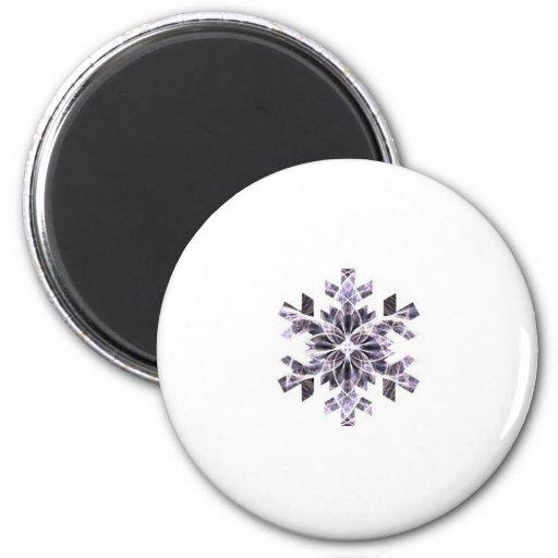 Purple Snowflake 2 Inch Round Magnet
