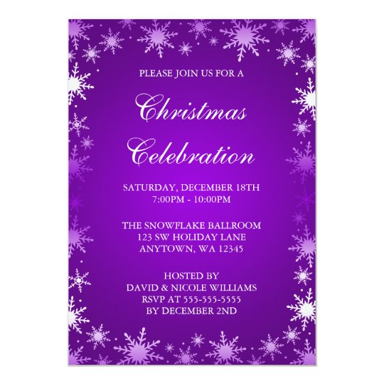purple snowflake border christmas party card