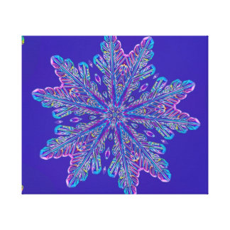 Purple snowflake stretched canvas prints