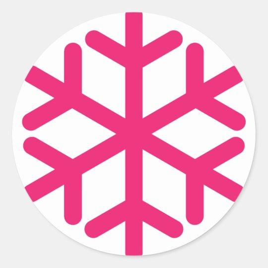 purple snowflake classic round sticker