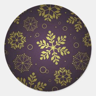 Purple Snowflake Corporate Christmas Greeting Classic Round Sticker