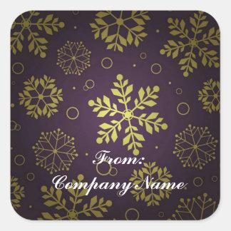 Purple Snowflake Corporate Christmas Greeting Square Sticker