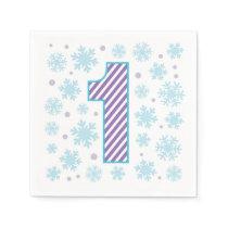 Purple Snowflake First Birthday Napkins