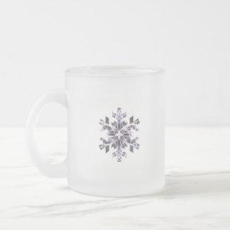 Purple Snowflake Frosted Glass Coffee Mug