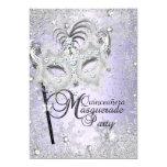 Purple Snowflake Mask Masquerade Quinceanera 5x7 Paper Invitation Card