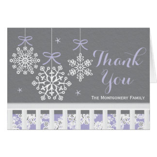Purple Snowflake Mobile Baby Shower Thank You Card