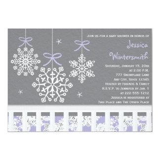 Purple Snowflake Mobile Crib Baby Shower Invite