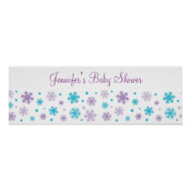 Purple Snowflake Personalized Banner Poster