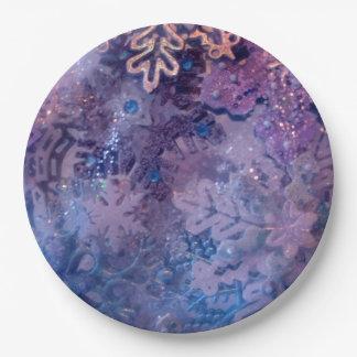 Purple Snowflake Plates 9 Inch Paper Plate