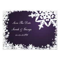 purple snowflake save the date announcement