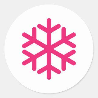 purple snowflake round sticker