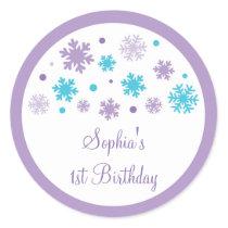 Purple Snowflake Stickers