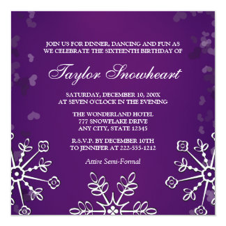 PURPLE SNOWFLAKE SWEET SIXTEEN BIRTHDAY CARD