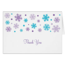 Purple Snowflake Thank You Note Cards