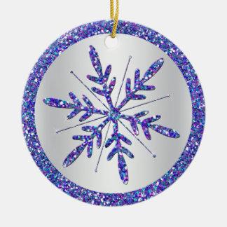 Purple Snowflake Wedding Photo Keepsake Ornament