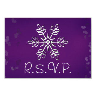 Purple Snowflake Wedding RSVP Response Card