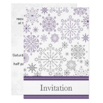 purple snowflake winter wedding card