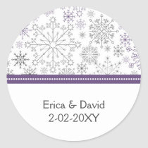 purple snowflake winter wedding favor stickers