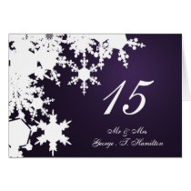 purple snowflake winter wedding table seating card