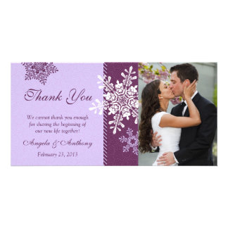 Purple Snowflake Winter Wedding Thank You Card