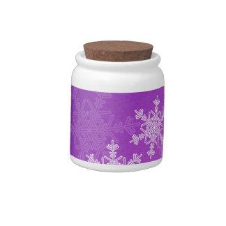 Purple Snowflakes Candy Jar