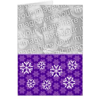Purple Snowflakes Christmas Custom Photo Card