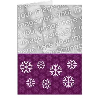 Purple Snowflakes Christmas Custom Photo ver2 Card