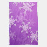 Purple Snowflakes Christmas Towel