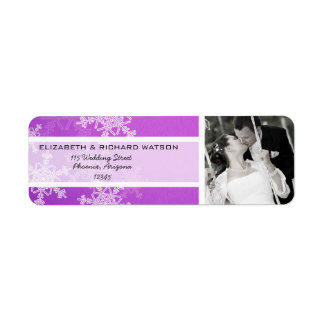 Purple Snowflakes Christmas Wedding Label