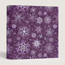 Purple Snowflakes for Chronic Pain 3 Ring Binder