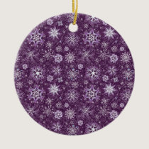 Purple Snowflakes for Chronic Pain Ceramic Ornament